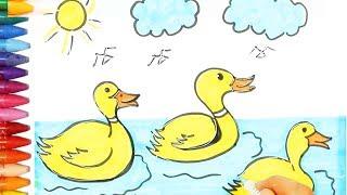 Как рисовать утки - Плавание уток раскраска - Как покрасить плавающие утки - Как рисовать и цвет