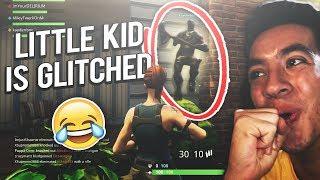 KID GLITCHES ON A WALL! (Fortnite Battle Royale Glitches)
