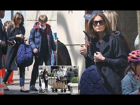 Melania Trump shows casual look picks up son Barron from school