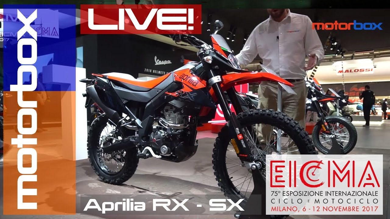nuova aprilia rx sx 2018 live eicma 2017 youtube. Black Bedroom Furniture Sets. Home Design Ideas