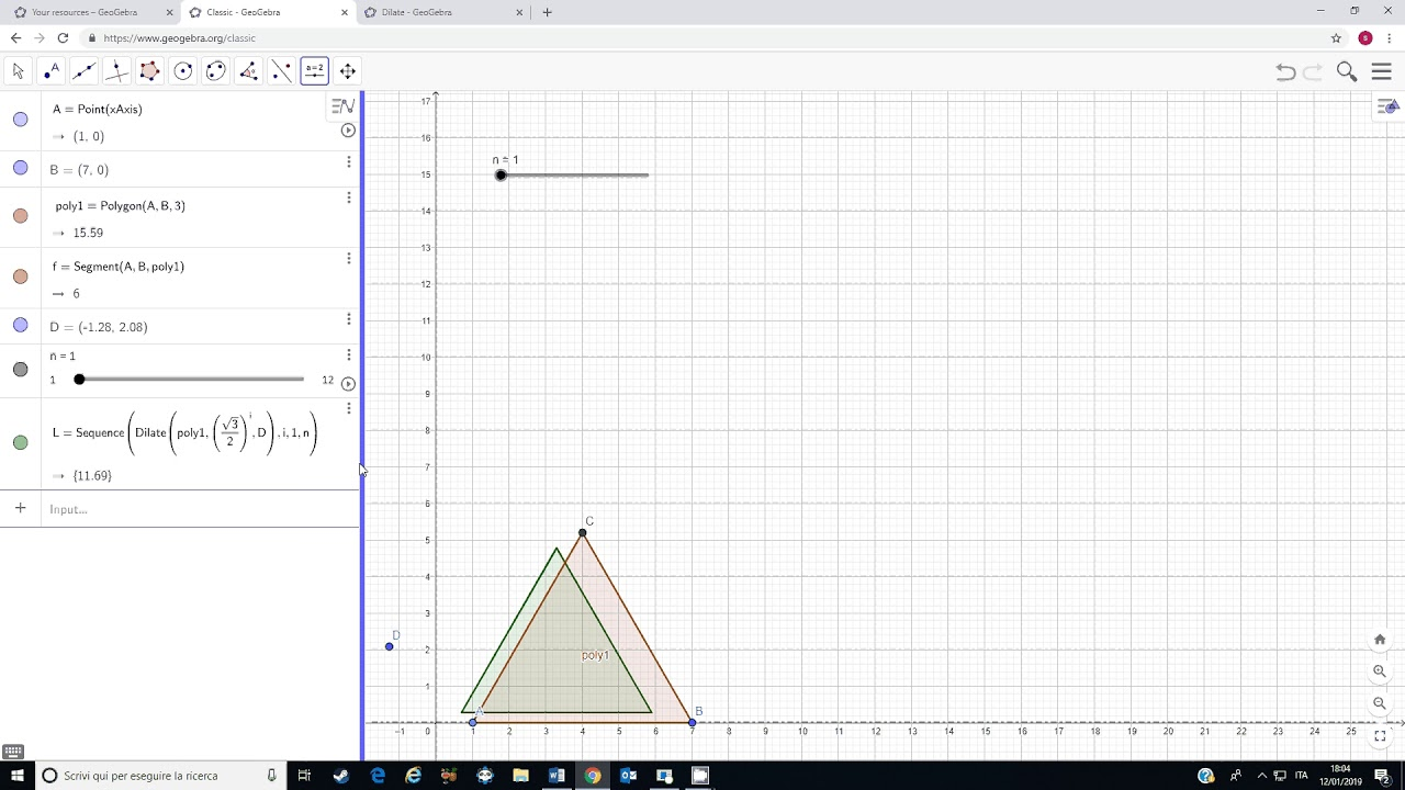 Tutorial Dilate a polygon from a point with GeoGebra