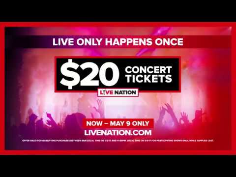 Live Nation $20 Ticket Offer 2017