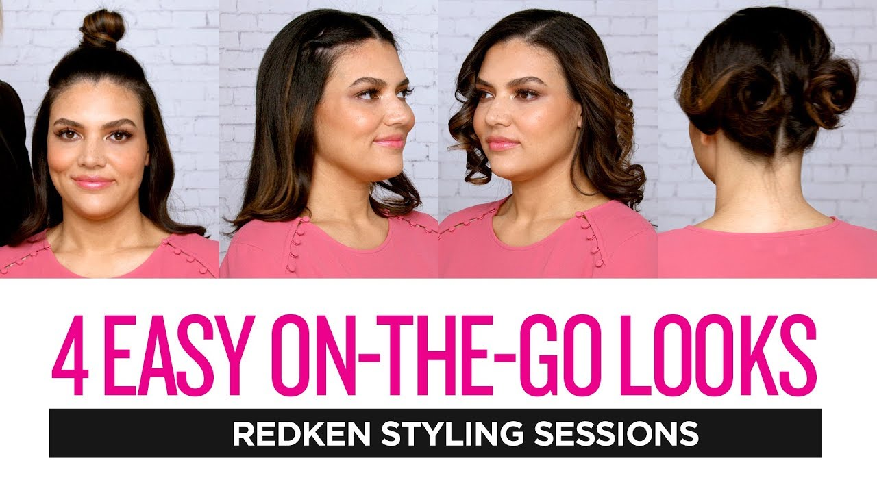 Redken Styling Sessions: 4 Easy On-The-Go Hairstyles - YouTube