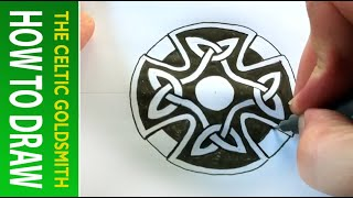 How To Draw Celtic Patterns 47 - Celtic Cross With Triskeles - Leeds 5of5