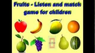 Fruit names matching game for kids