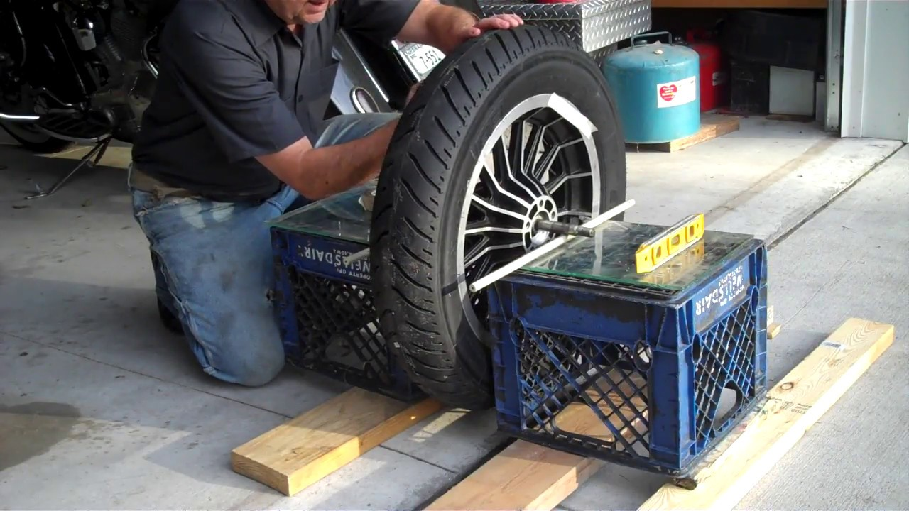 How To Balance Tires >> Balance motorcycle wheel and tire at home - YouTube