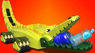 एनिमाकार क्रोकोडाइल के साथ समुद्री तट की सफाई  बच्चों के लिए ट्रक और जानवरों वाले  कार्टून