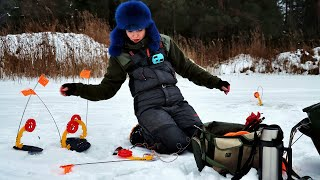 КЛЮЁТ НА РУСЛЕ ЩУКА на жерлицы Зимняя рыбалка в Беларуси 227