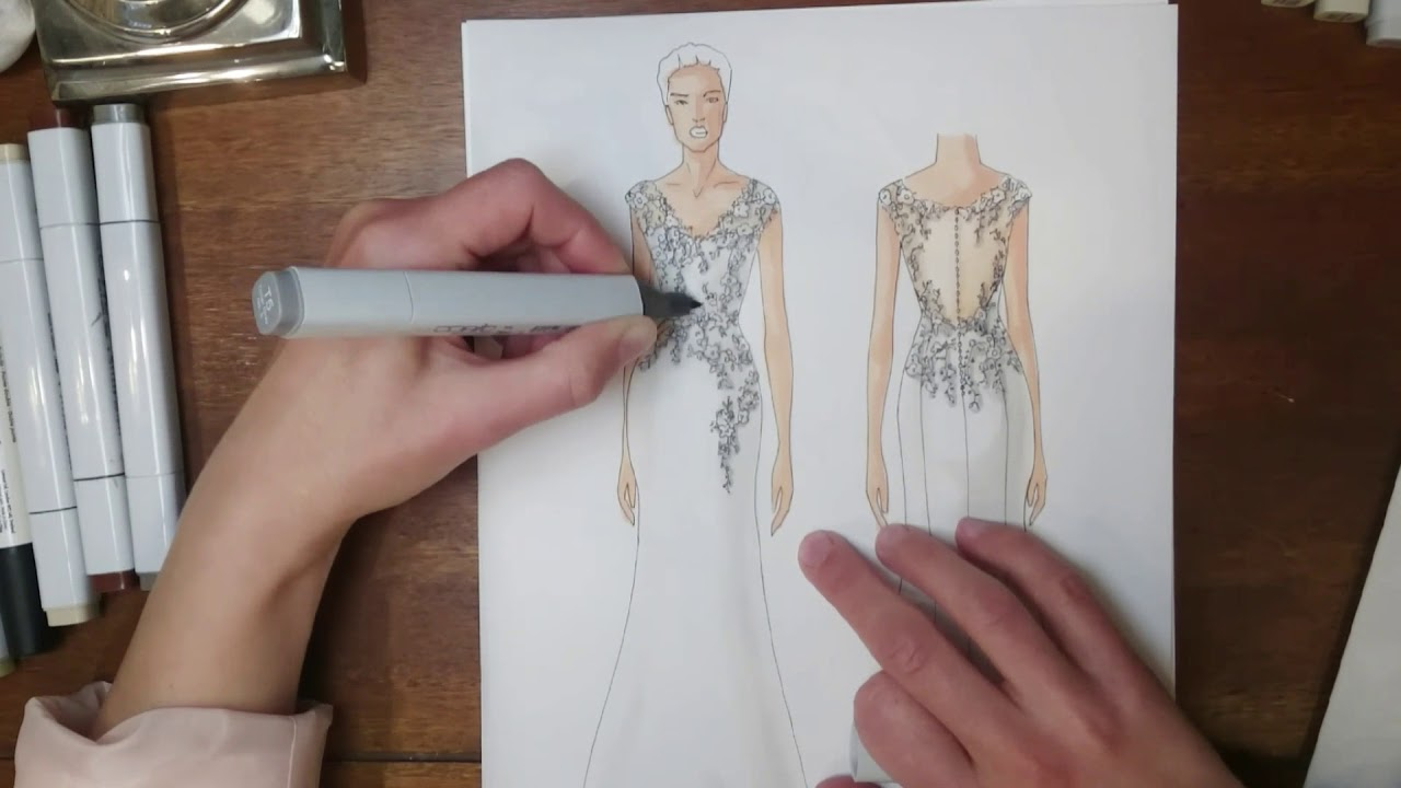 Croquis De Robe De Mariee Par Chris Von Martial Youtube