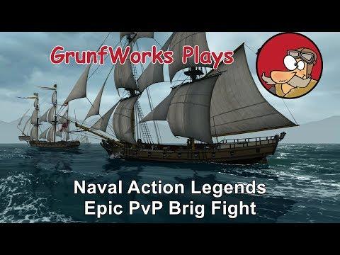 Naval Action Legends - Epic Brig PvP Fight