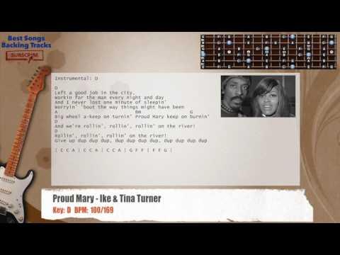 Proud Mary - Ike & Tina Turner Guitar Backing Track with chords and lyrics