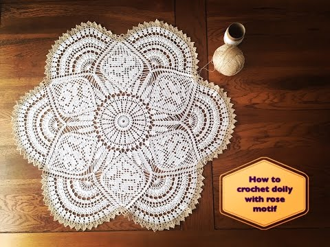 How to crochet doily with rose motif part 2 of 4