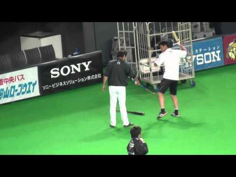 【居残り練習】石川亮と柏原コーチの特打@札幌ドーム 2015.04.25