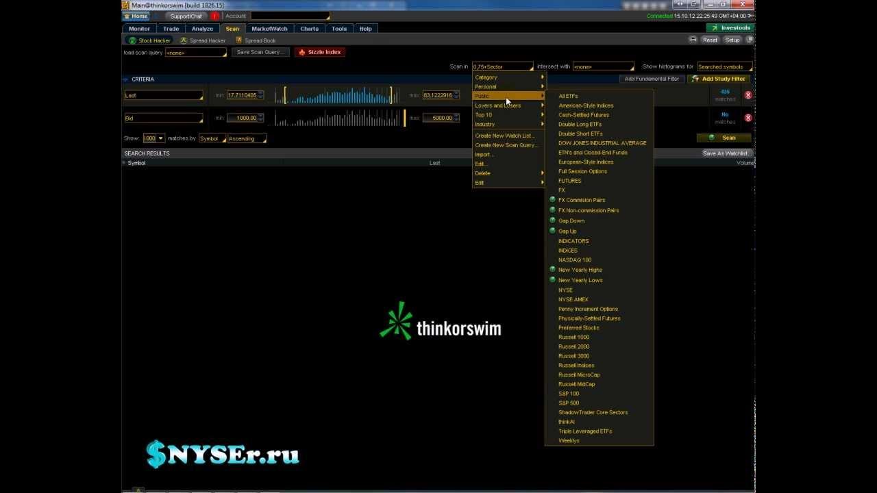 Как пользоваться сканером в Thinkorswim - YouTube