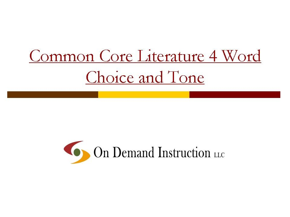 Common Core Literature 4 Word Choice and Tone YouTube – Word Choice Worksheets
