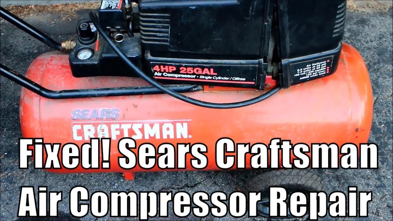 Sears Oilless Air Compressor Muffler Intake Repair How To