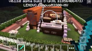 My first Redstone Mansion Creation??? Minecraft PE (pocket edition) 0.13.0 alpha build 3