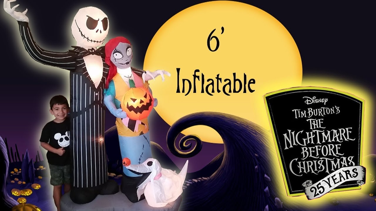 nightmare before christmas huge jack skellington sally zero halloween airblown inflatable walmart - Nightmare Before Christmas Inflatable Lawn Decorations