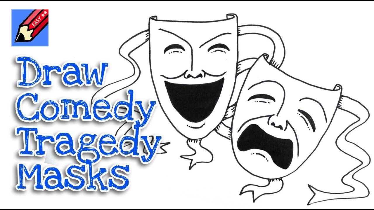 How to draw Tragedy and Comedy Masks real easy - step by step - YouTube