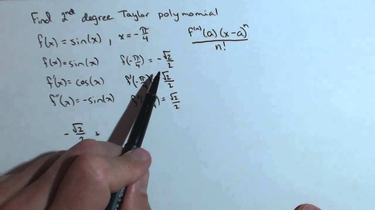 Find a Second Degree Taylor Polynomial Ch8R TP1b