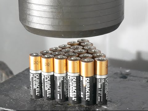 Thumbnail: Crushing 21 Batteries with Big Hydraulic Press