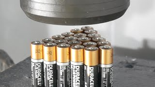 Crushing 21 Batteries with Big Hydraulic Press thumbnail