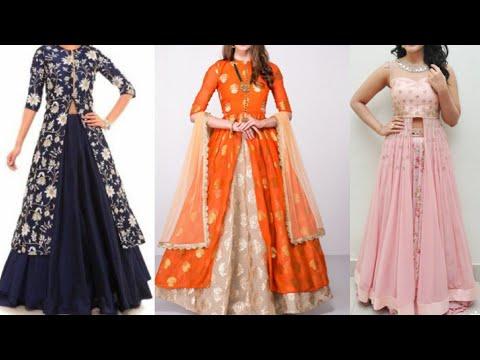 Front slit kurta Lehenga design ideas for Indian wedding season/Indo western Lehenga design