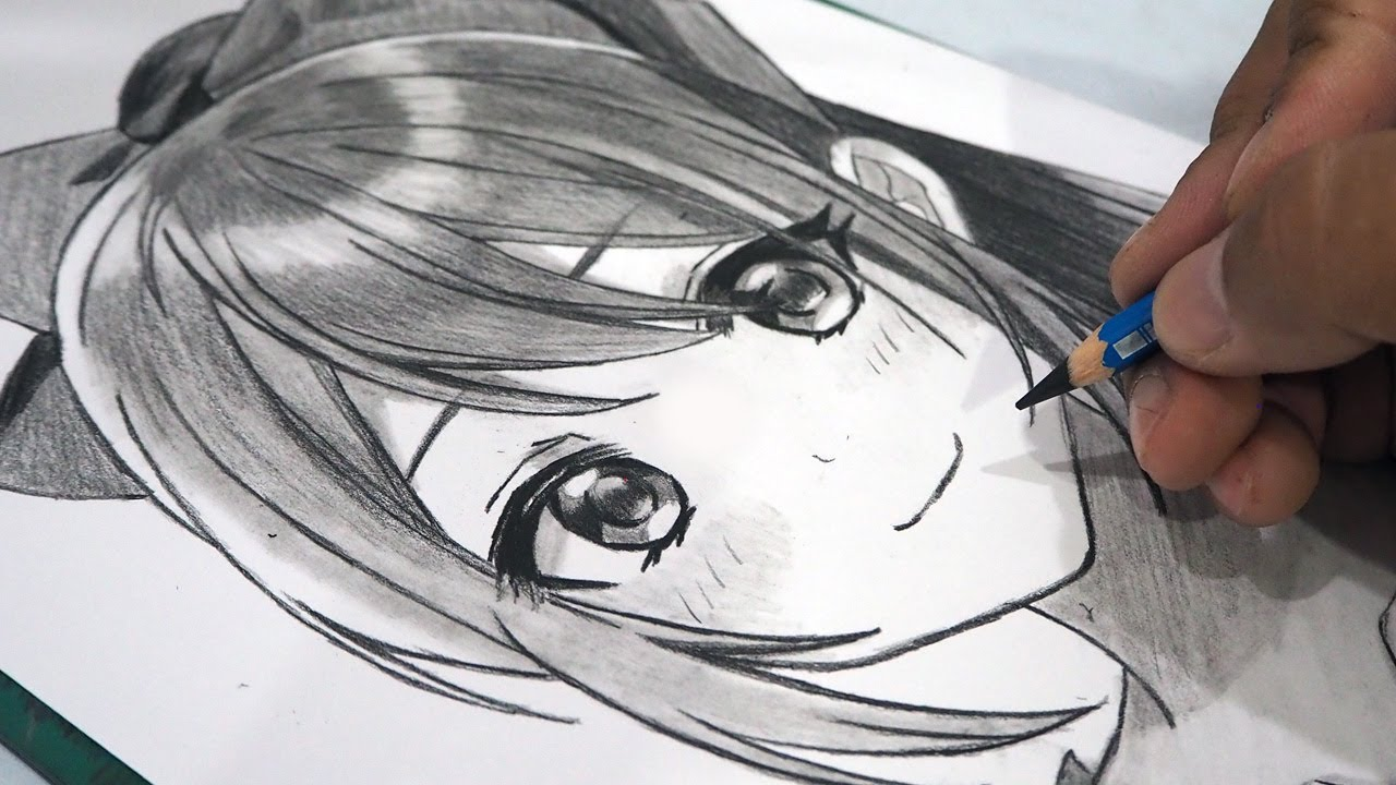 How To Draw Anime Girl Using Only One Pencil Anime Drawing Tutorial Youtube