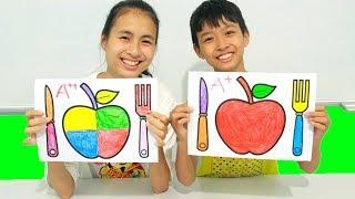 Apple & Cutlery Set, Warna-Warni Belajar Menggambar dan Mewarnai untuk Anak
