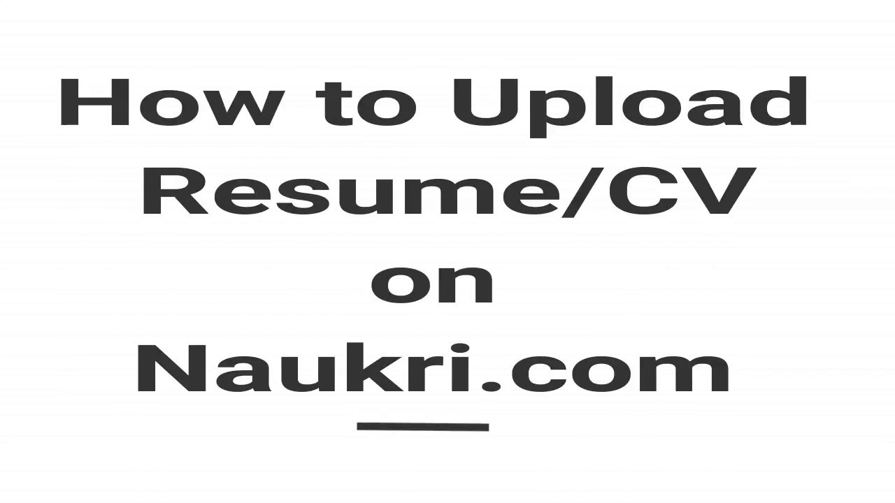 How to Upload Resume on Naukri.com - YouTube
