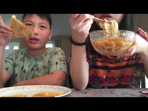 ASMR/Talking Eating Pepperoni Pizza w/ French Fries and Udon&Rice w/ Fried Tofu and Veggies