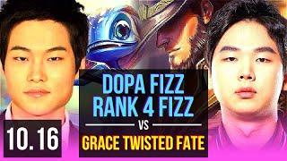 Dopa FIZZ vs Grace TWISTED FATE (MID)   Rank 4 Fizz, KDA 7/0/8, Godlike   KR Challenger   v10.16
