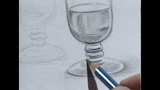 How to draw a wine glass 2 / Cómo dibujar una copa de cristal 2