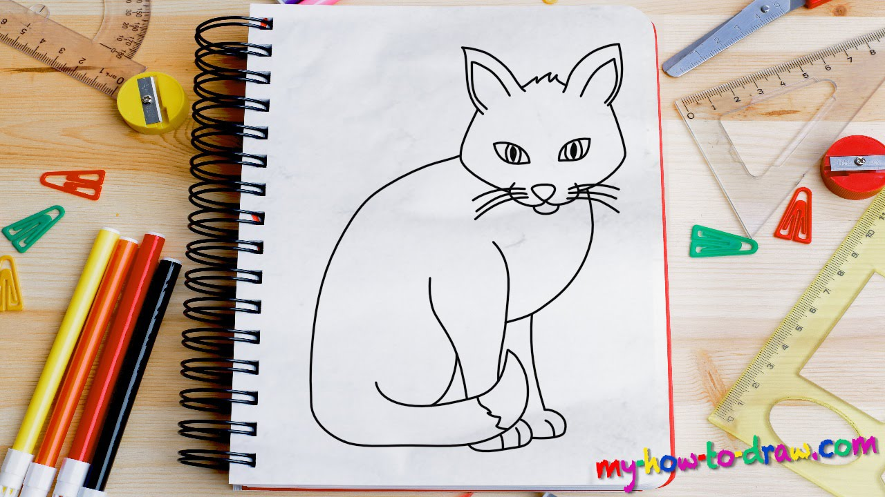 How to draw a Cat   Easy step by step drawing lessons for kids   YouTube