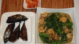 Pinoy Recipe - Ginisang Monggo - Monggo Beans - [stew Mung Beans With Shrimp And Rapini]