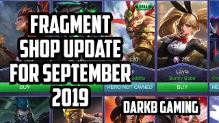Fragment Shop Update for September 2019 | Akazonae Samurai | Mobile Legends