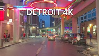 Detroit 4k - Neon Nightlife Drive