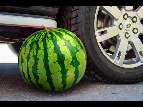 crushing-crunchy-&-soft-things-by-car!---experiment:-car-vs-watermelon,-pineapple-and-camera