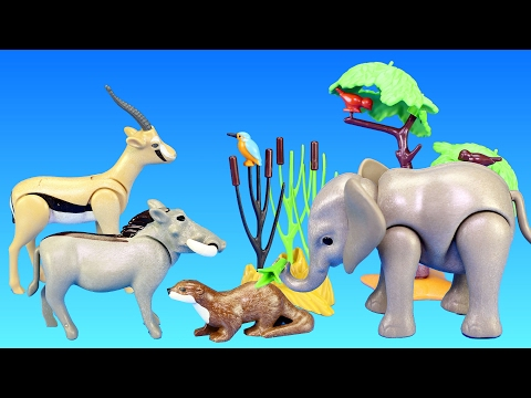 Playmobil Wild Animal Toys For Kids - Baby Elephant Gazelle Gorilla Warthogs Animals For Children