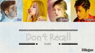 K.A.R.D. - Don't Recall | Sub (Han - Rom - English) Color Coded Lyrics