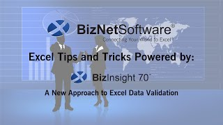 Excel Tips and Tricks Powered by BizInsight 7.0: A New Approach to Excel Data Validation