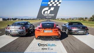 Nissan GT-R v Mercedes AMG GT v Jaguar F-Type. Una drag race con le auto di Sony GT Sport!
