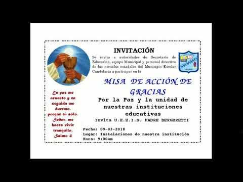 Invitación Misa De Acción De Gracias Youtube