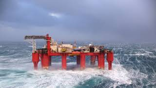 Offshore Oil Rig in Huge North Sea Storm