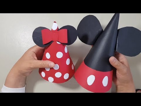 How to make birthday cone disney hat & Mickey and Minnie paper hats