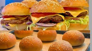 Humburger_hướng dẫn cách làm bột bánh và 1 chiếc humbuger bò hoàn chỉnh_Bếp Hoa
