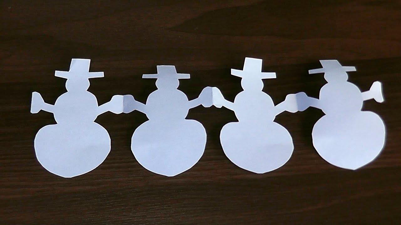 Як зробити Новорічну гірлянду Сніговик з паперу своїми ...