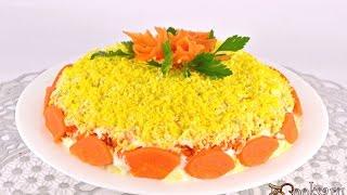 Салат 'Мимоза' с картофелем и твердым сыром