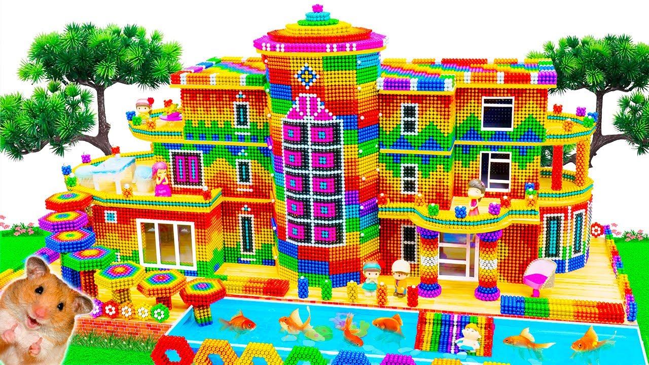 Satisfying Video   Build Beautiful Minecraft Villa Has Rainbow Bridge And Pool From Magnetic Balls