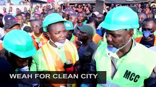 President George Weah @WEAH FOR CLEAN CITY CAMPAIGN..with the Monrovia City Corporation